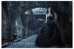 Miss Teen Kansas Aly Klinzing wearing black dress for photoshoot with Devine Studios